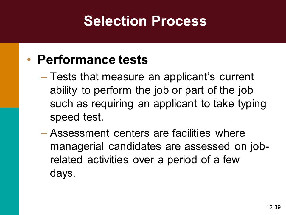 Selection Process Performance tests