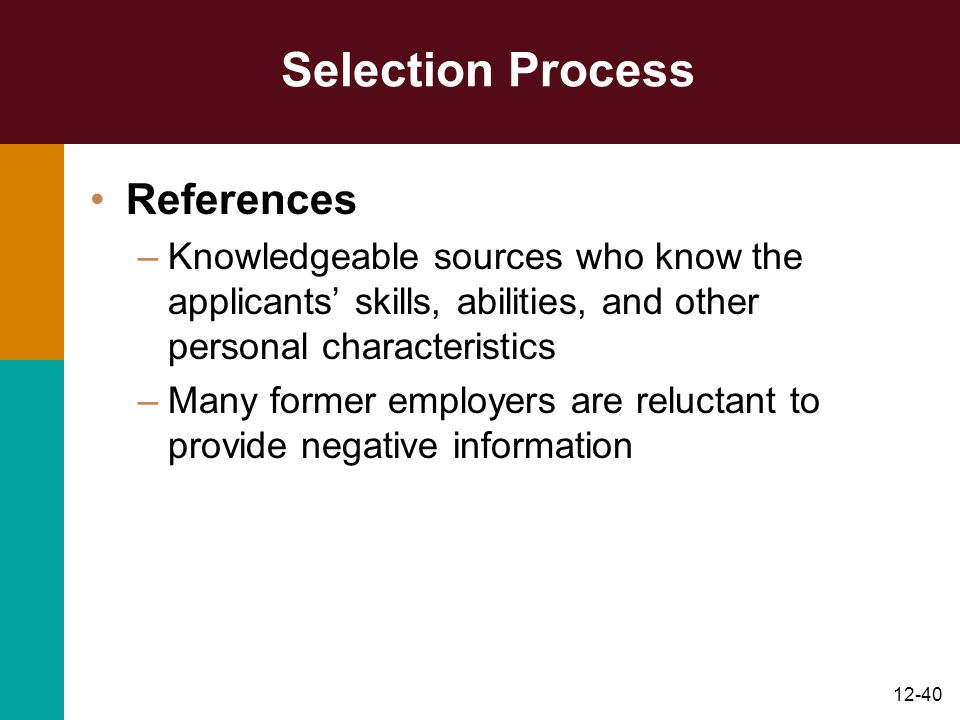 Selection Process References