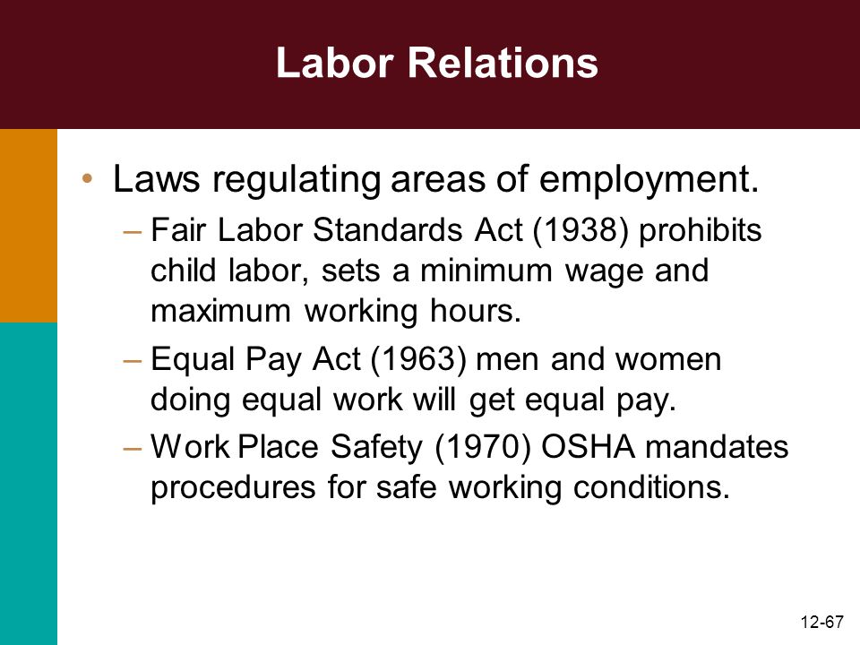 Labor Relations Laws regulating areas of employment.
