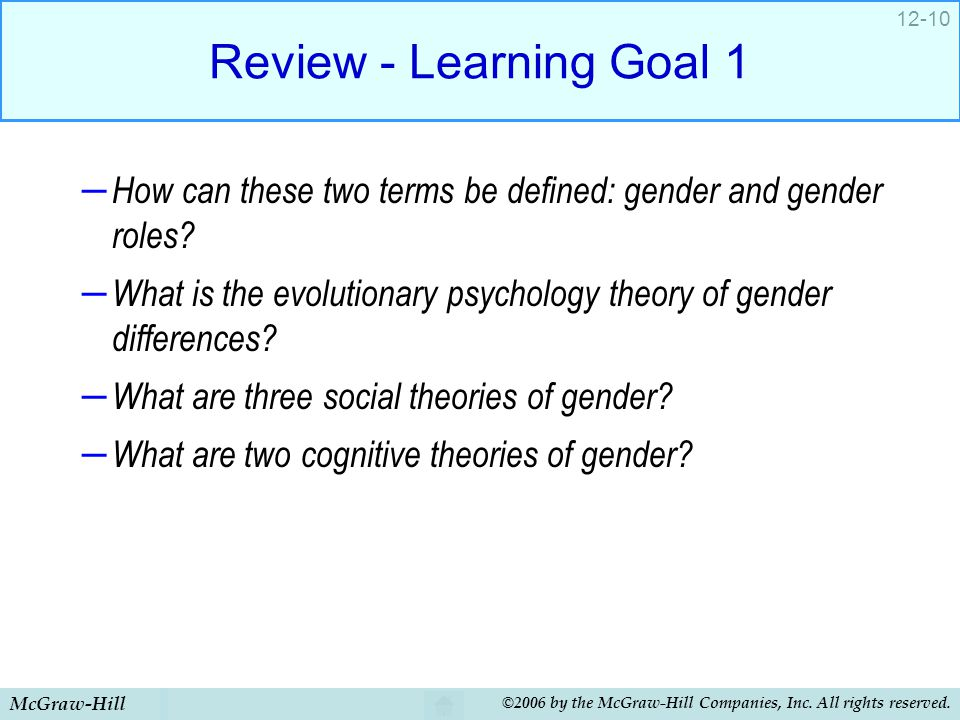 Review - Learning Goal 1 How can these two terms be defined: gender and gender roles