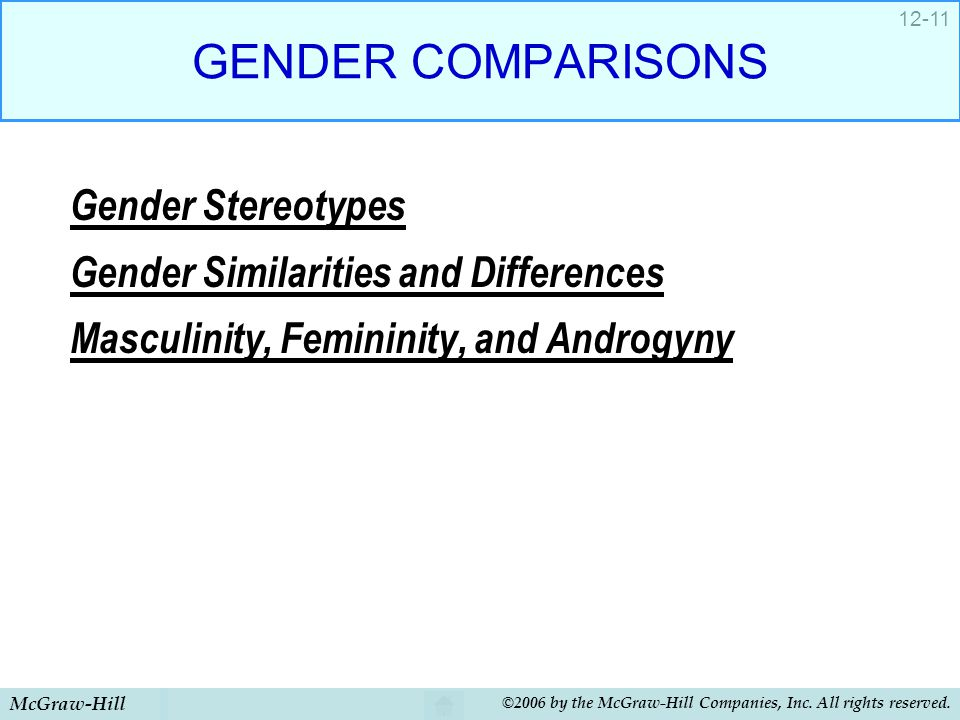 GENDER COMPARISONS Gender Stereotypes