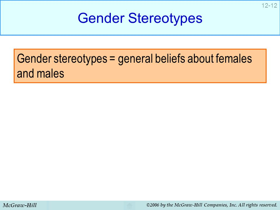 Gender Stereotypes Gender stereotypes = general beliefs about females and males. McGraw-Hill.