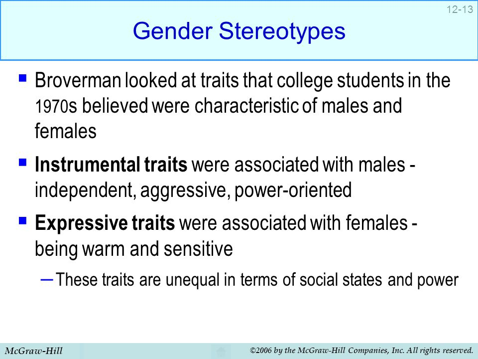 Gender Stereotypes Broverman looked at traits that college students in the 1970s believed were characteristic of males and females.