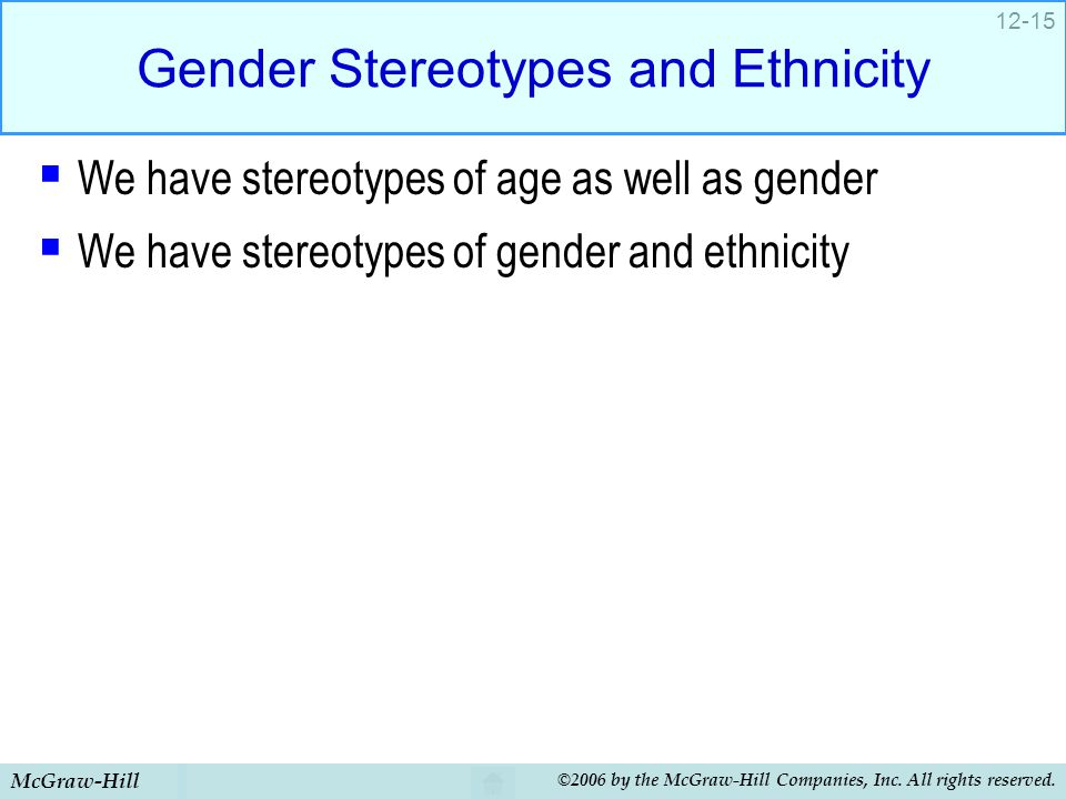 Gender Stereotypes and Ethnicity