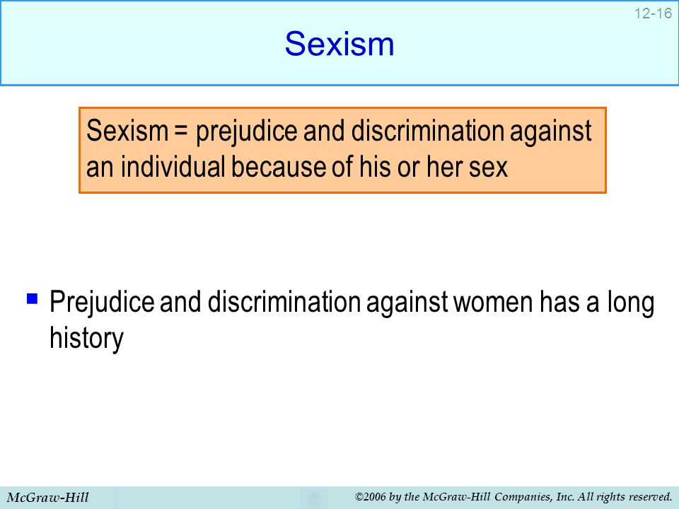 Sexism Prejudice and discrimination against women has a long history.