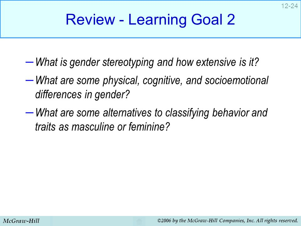 Review - Learning Goal 2 What is gender stereotyping and how extensive is it