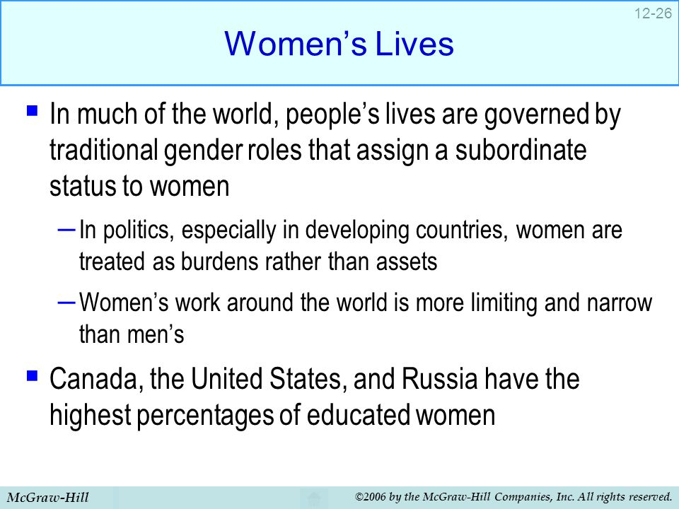 Women's Lives In much of the world, people's lives are governed by traditional gender roles that assign a subordinate status to women.
