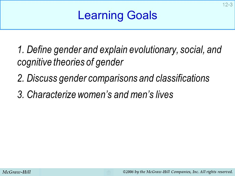 Learning Goals 1. Define gender and explain evolutionary, social, and cognitive theories of gender.