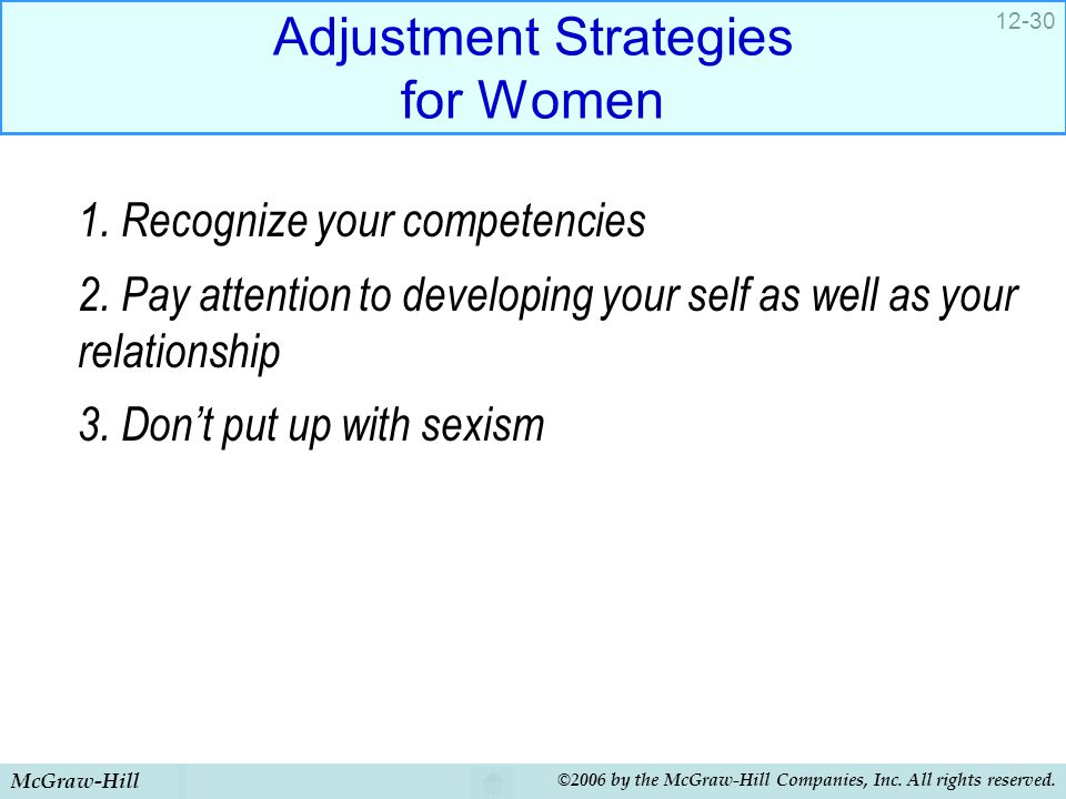 Adjustment Strategies for Women