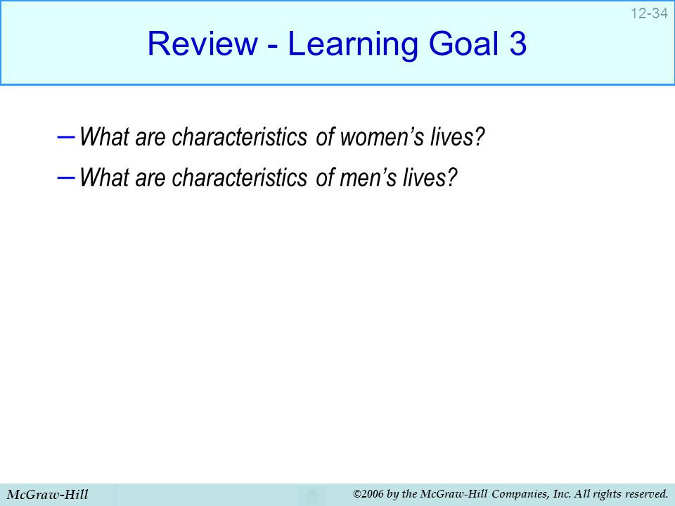 Review - Learning Goal 3 What are characteristics of women's lives