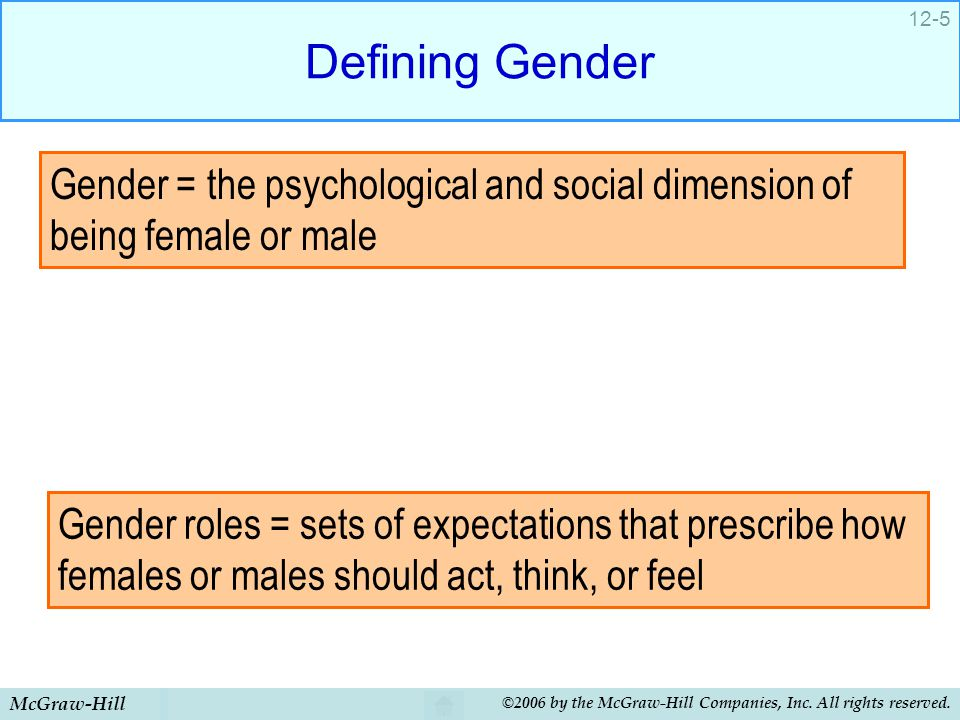 Defining Gender Gender = the psychological and social dimension of being female or male.