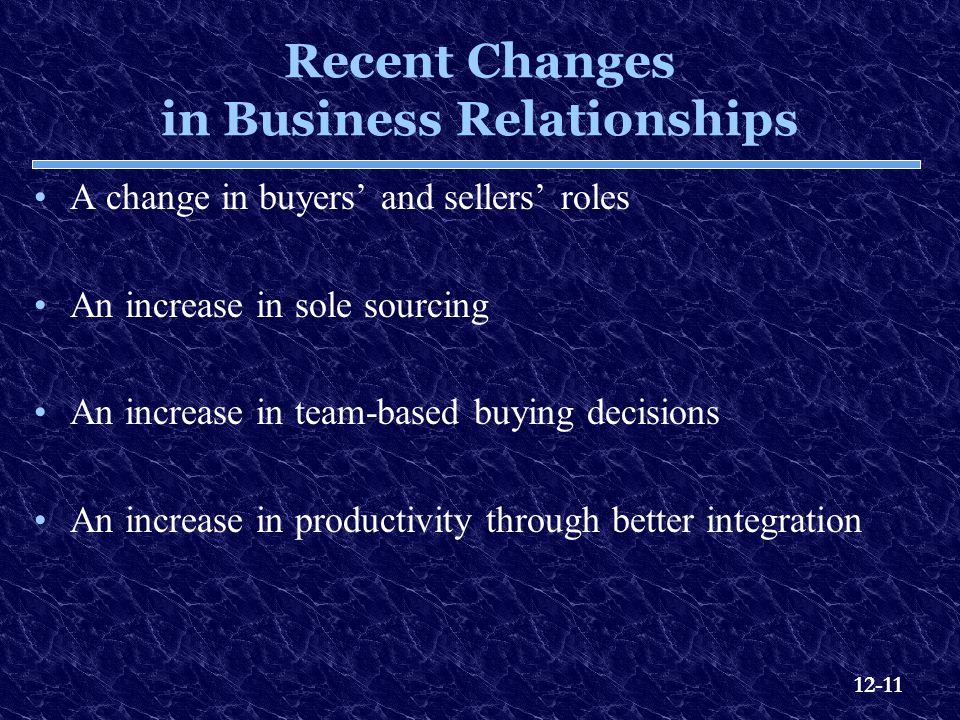 Recent Changes in Business Relationships