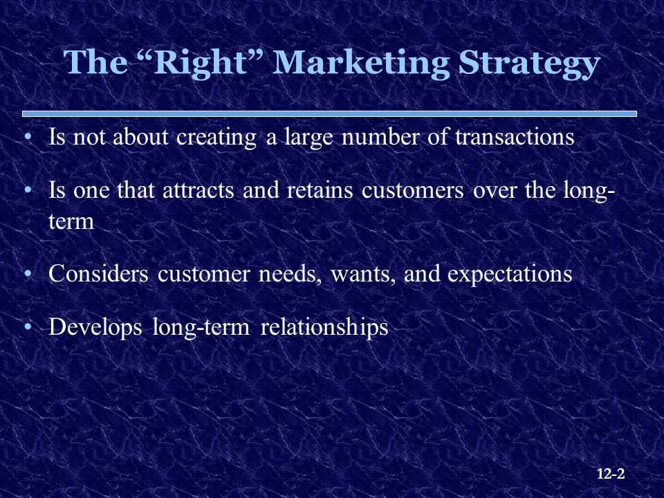 The Right Marketing Strategy
