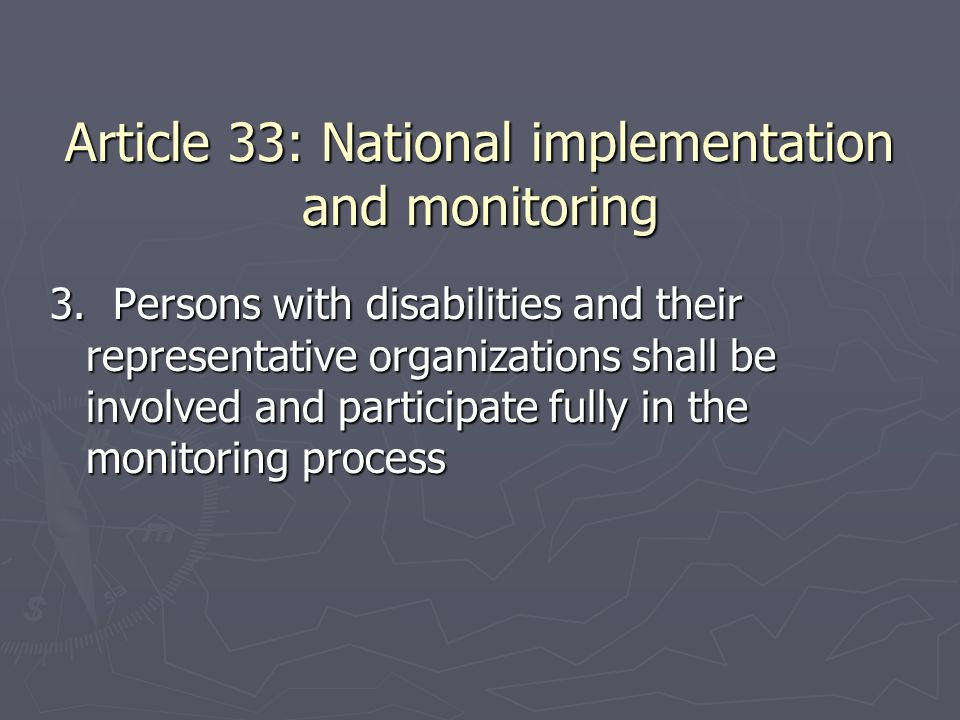 Article 33: National implementation and monitoring