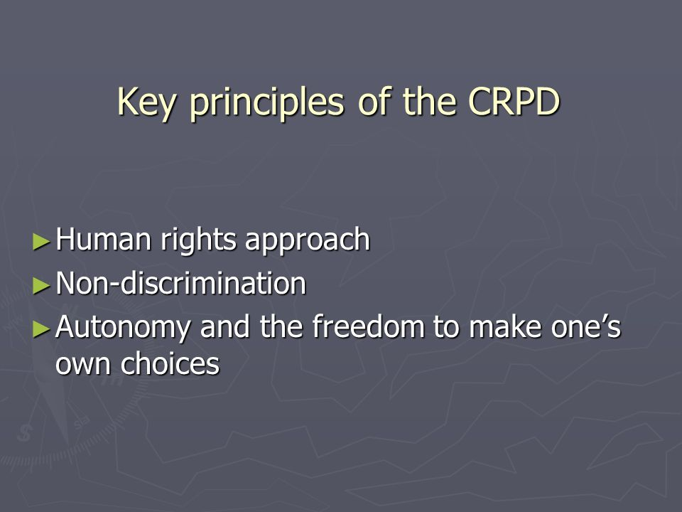 Key principles of the CRPD