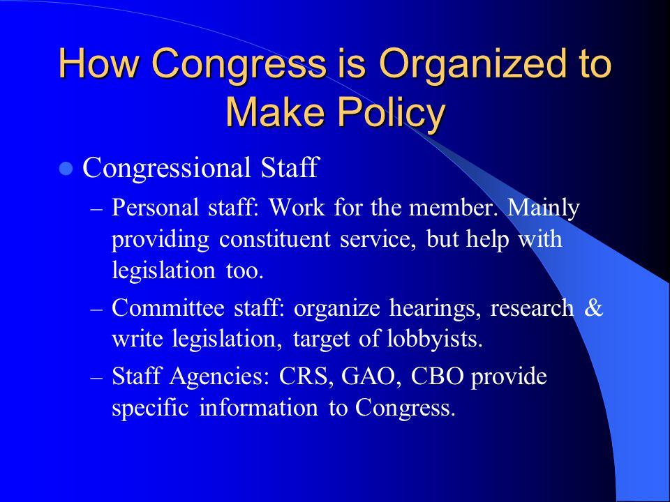 How Congress is Organized to Make Policy