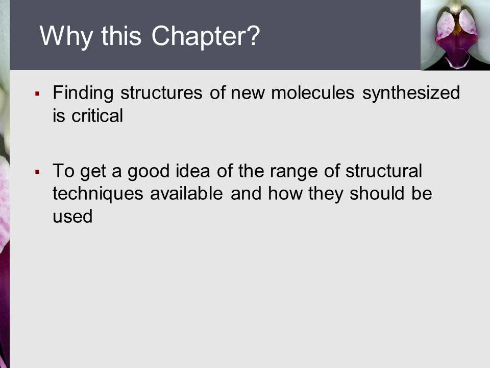Why this Chapter Finding structures of new molecules synthesized is critical.