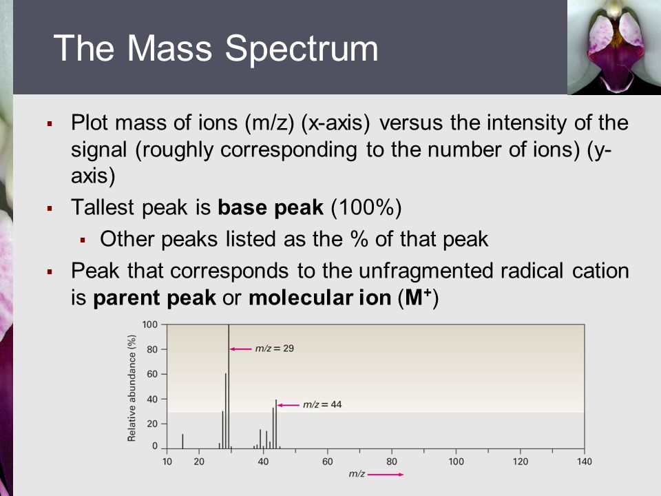The Mass Spectrum Plot mass of ions (m/z) (x-axis) versus the intensity of the signal (roughly corresponding to the number of ions) (y-axis)