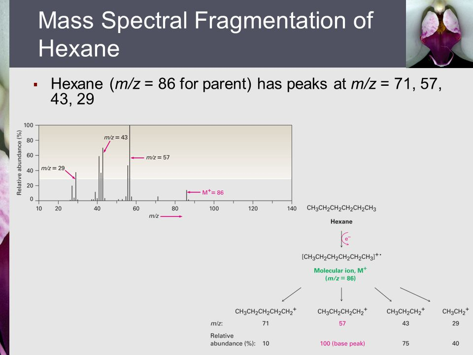 Mass Spectral Fragmentation of Hexane