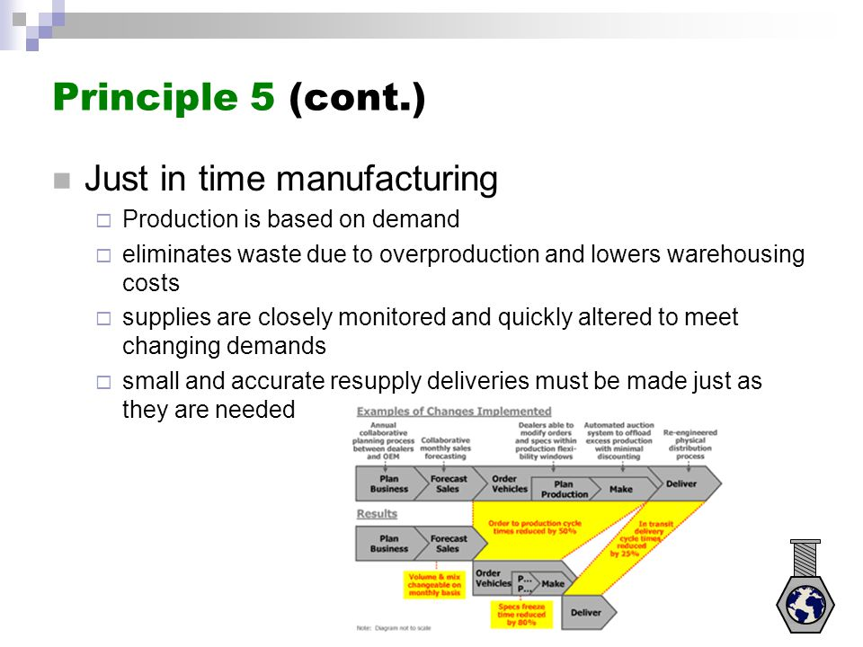 Principle 5 (cont.) Just in time manufacturing