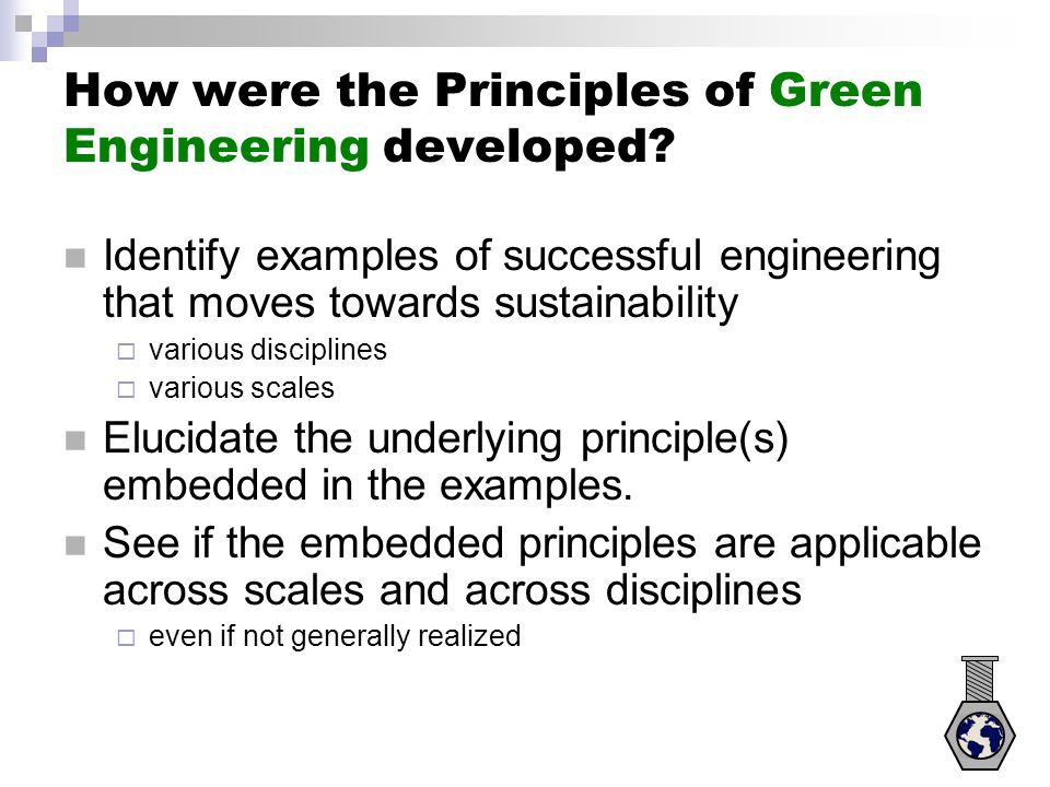 How were the Principles of Green Engineering developed