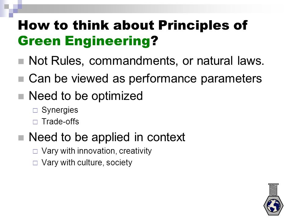 How to think about Principles of Green Engineering