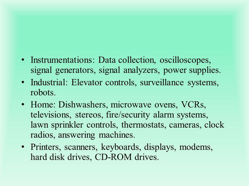 Instrumentations: Data collection, oscilloscopes, signal generators, signal analyzers, power supplies.