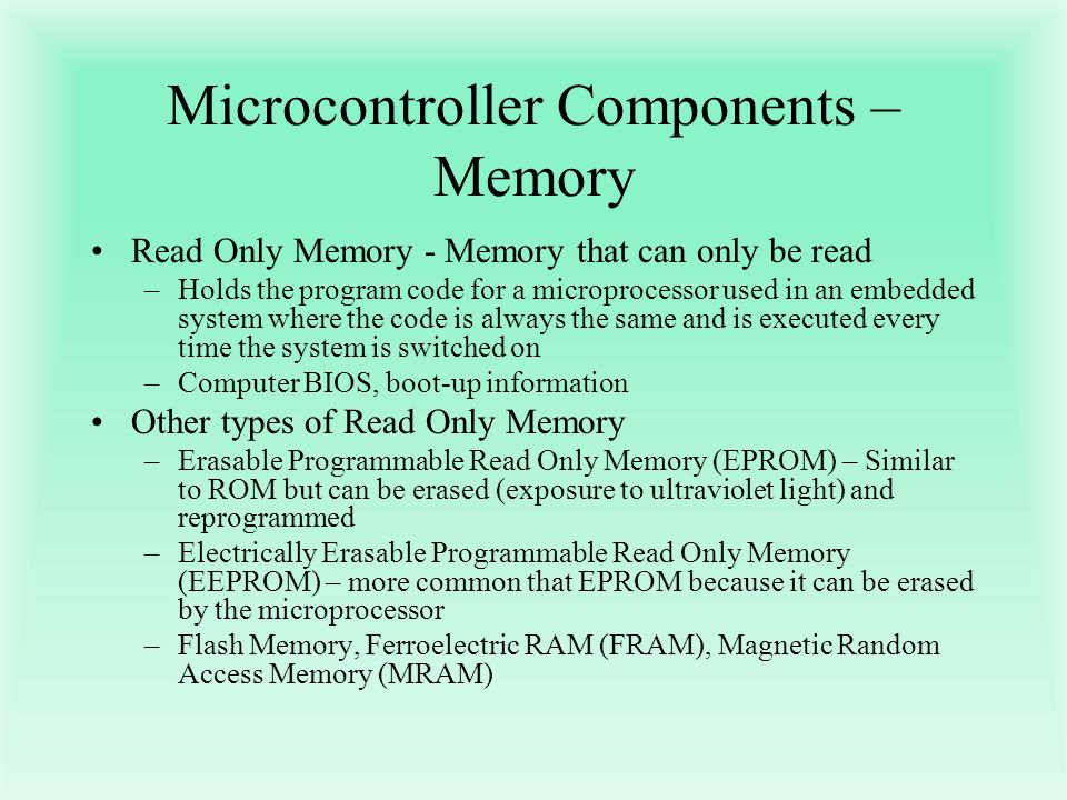 Microcontroller Components – Memory