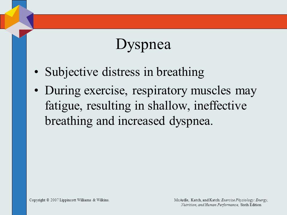 Dyspnea Subjective distress in breathing