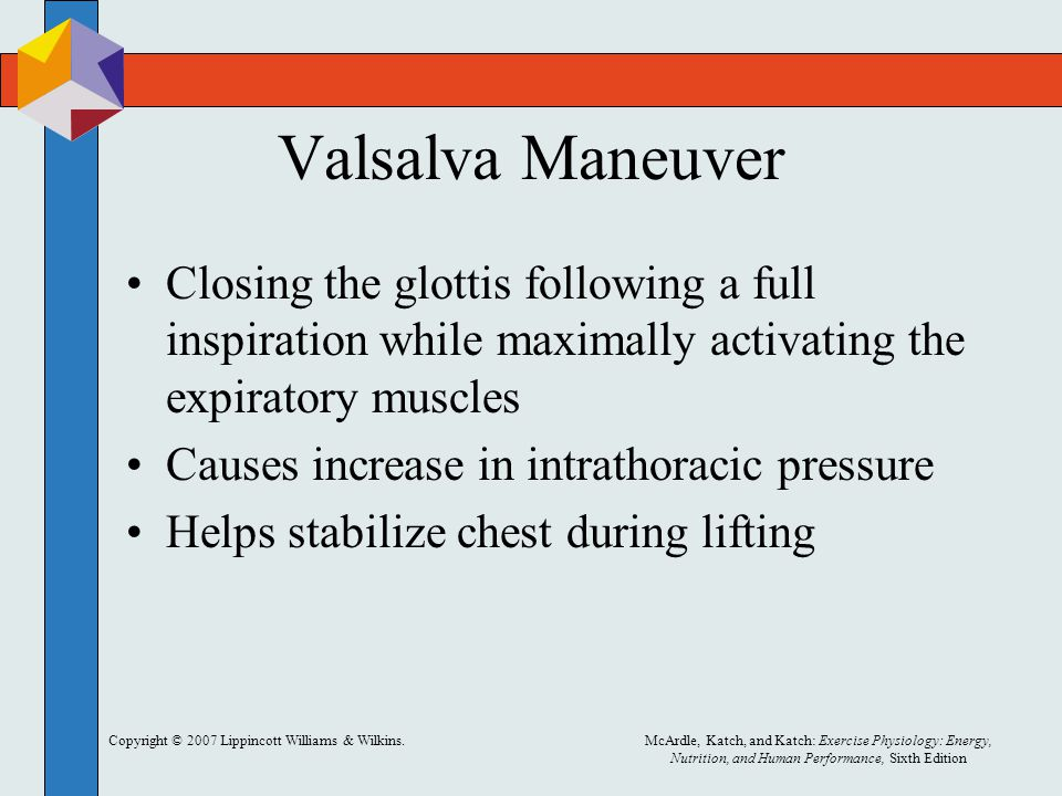 Valsalva Maneuver Closing the glottis following a full inspiration while maximally activating the expiratory muscles.