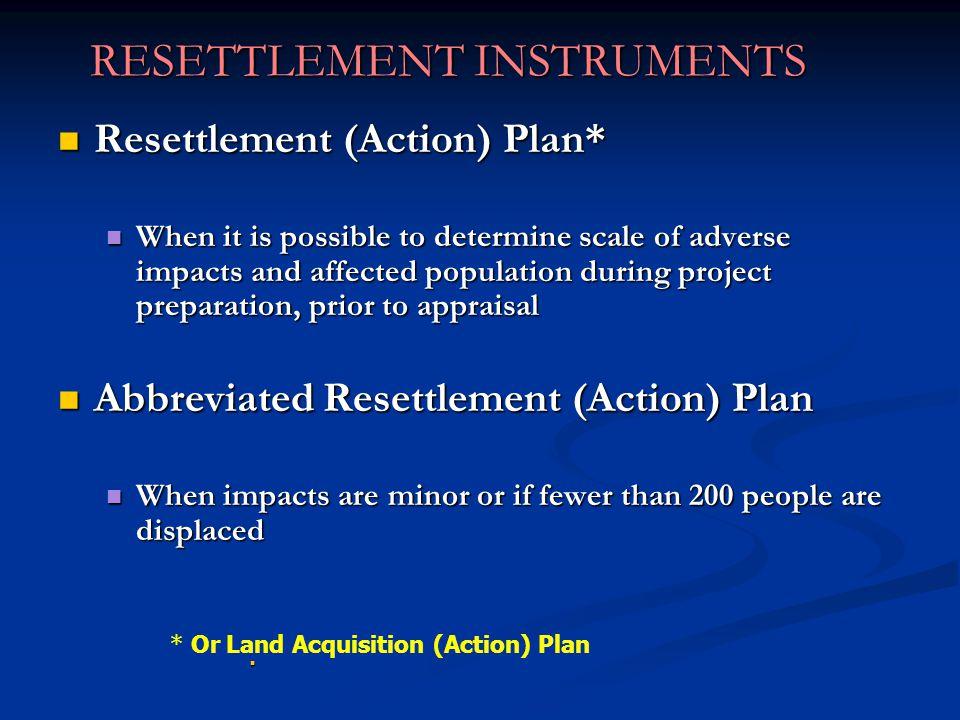 RESETTLEMENT INSTRUMENTS