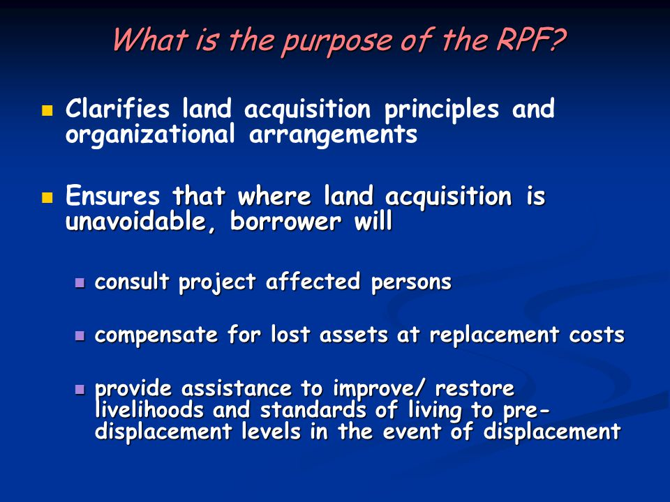 What is the purpose of the RPF