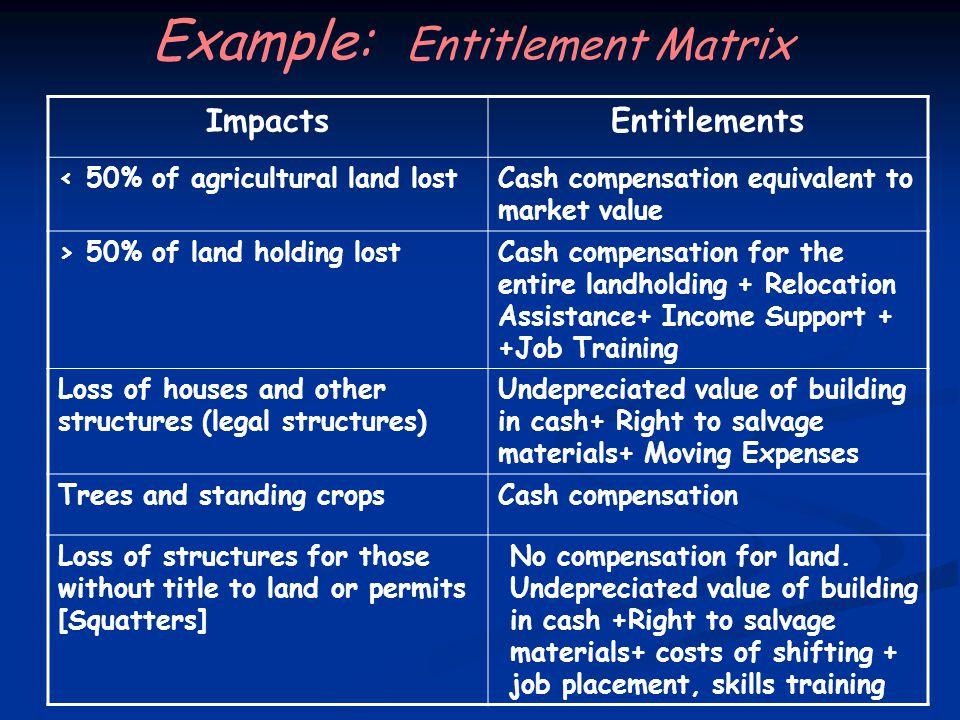 Example: Entitlement Matrix