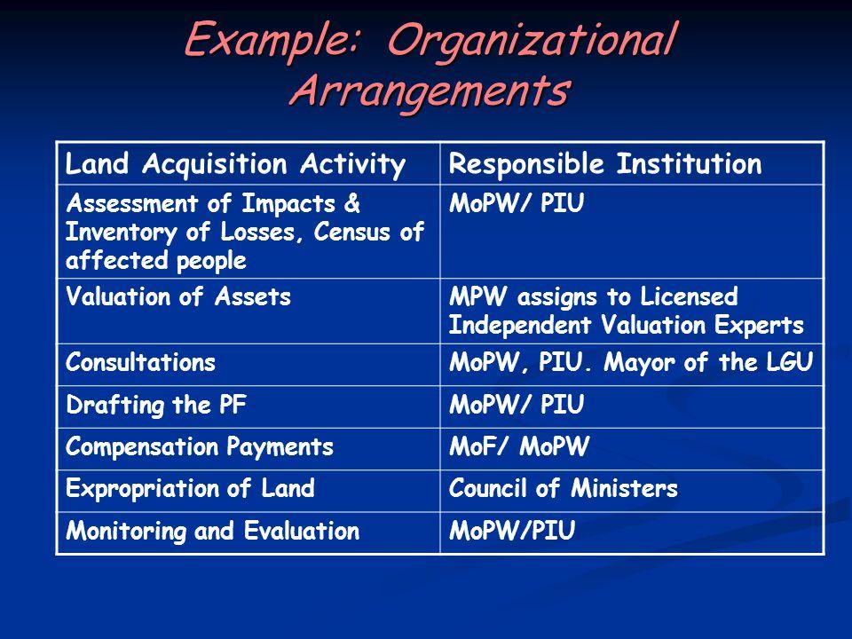 Example: Organizational Arrangements
