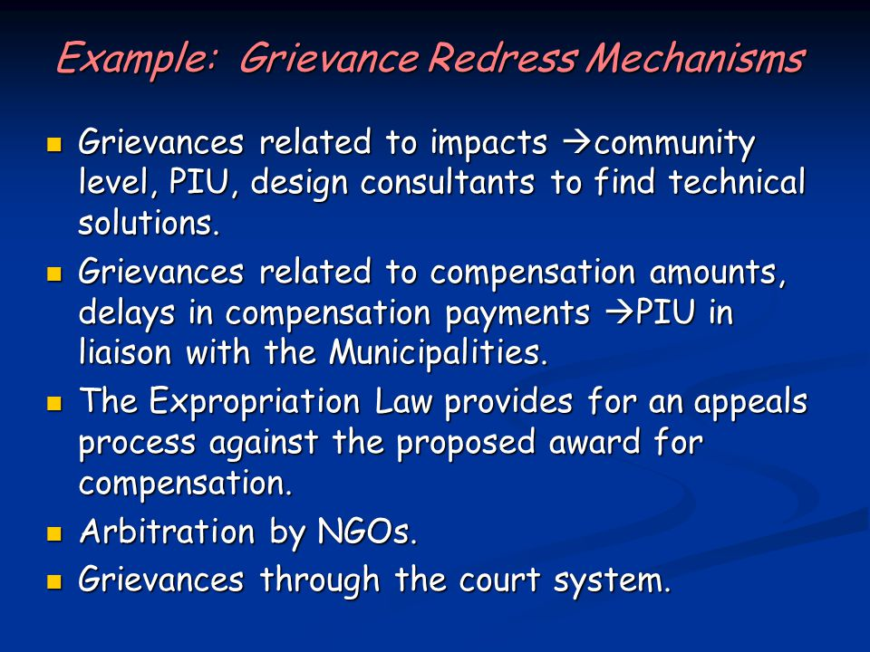 Example: Grievance Redress Mechanisms