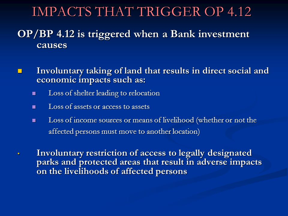 IMPACTS THAT TRIGGER OP 4.12