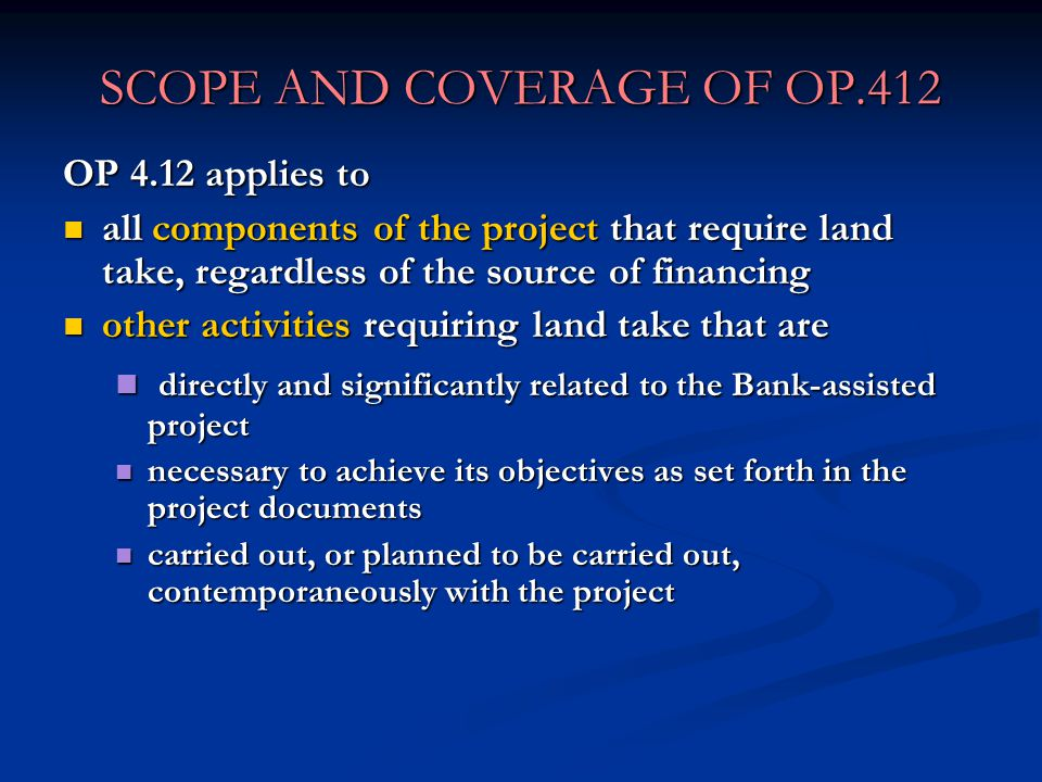 SCOPE AND COVERAGE OF OP.412