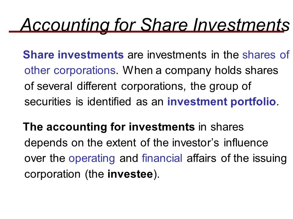 Accounting for Share Investments