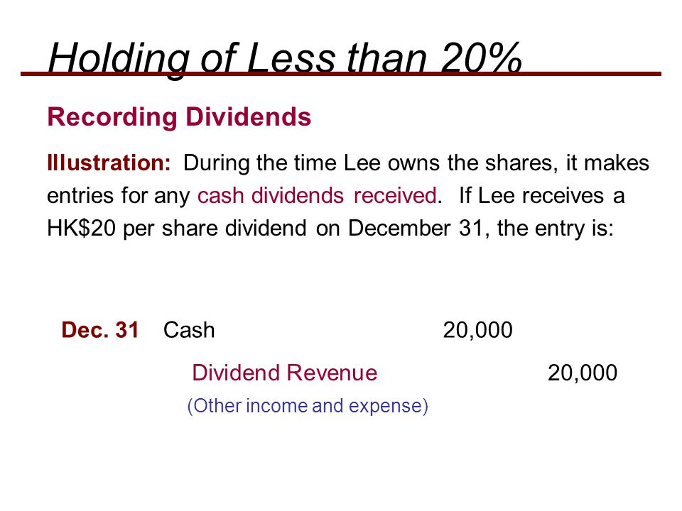 Holding of Less than 20% Recording Dividends