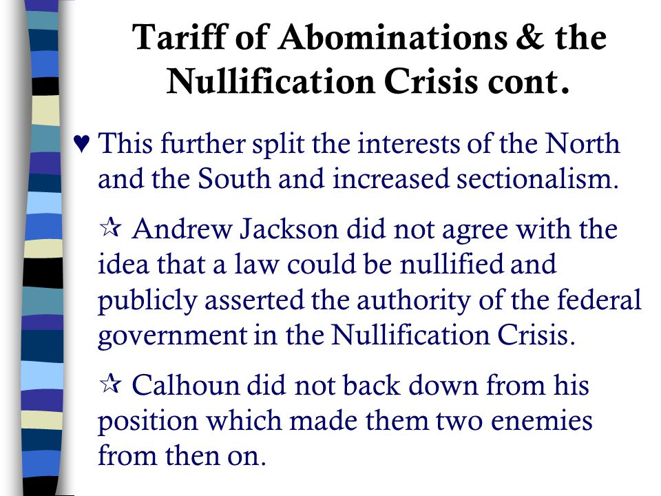 Tariff of Abominations & the Nullification Crisis cont.