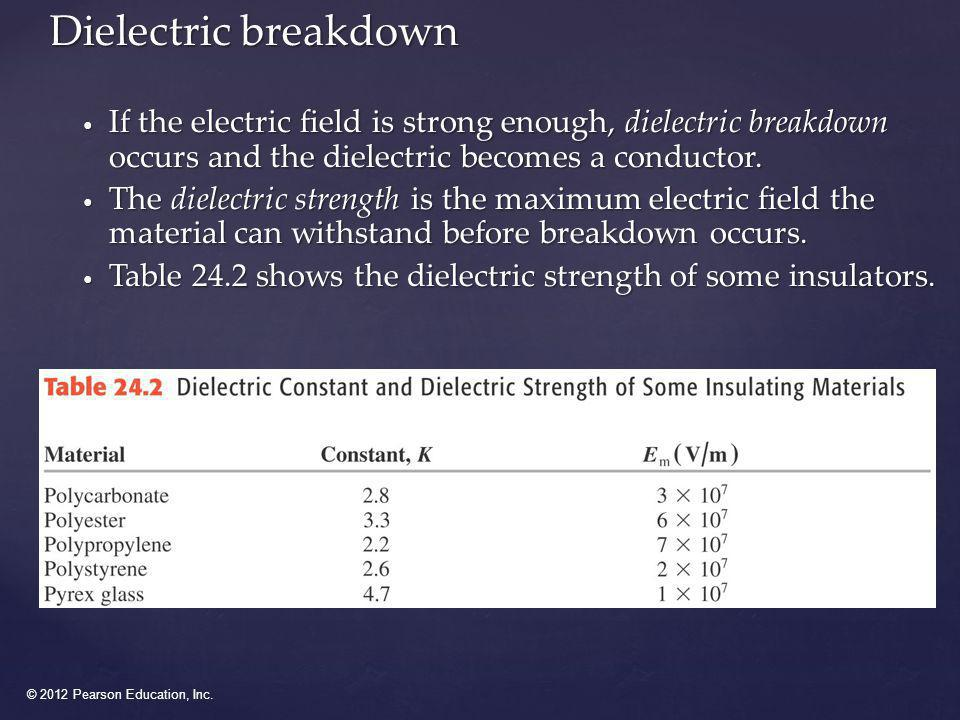Dielectric breakdown If the electric field is strong enough, dielectric breakdown occurs and the dielectric becomes a conductor.