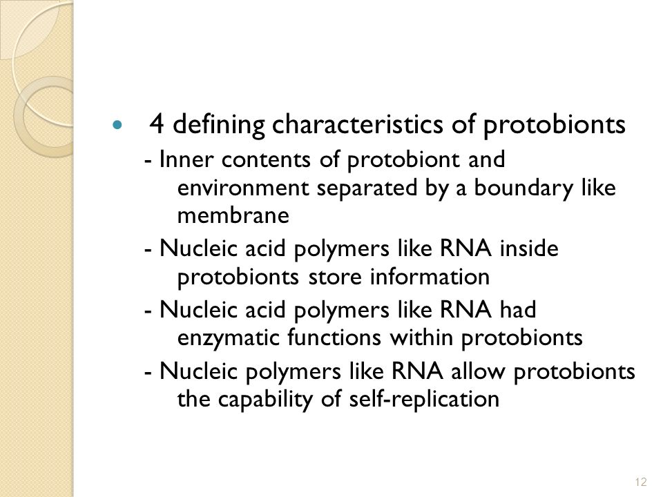 4 defining characteristics of protobionts