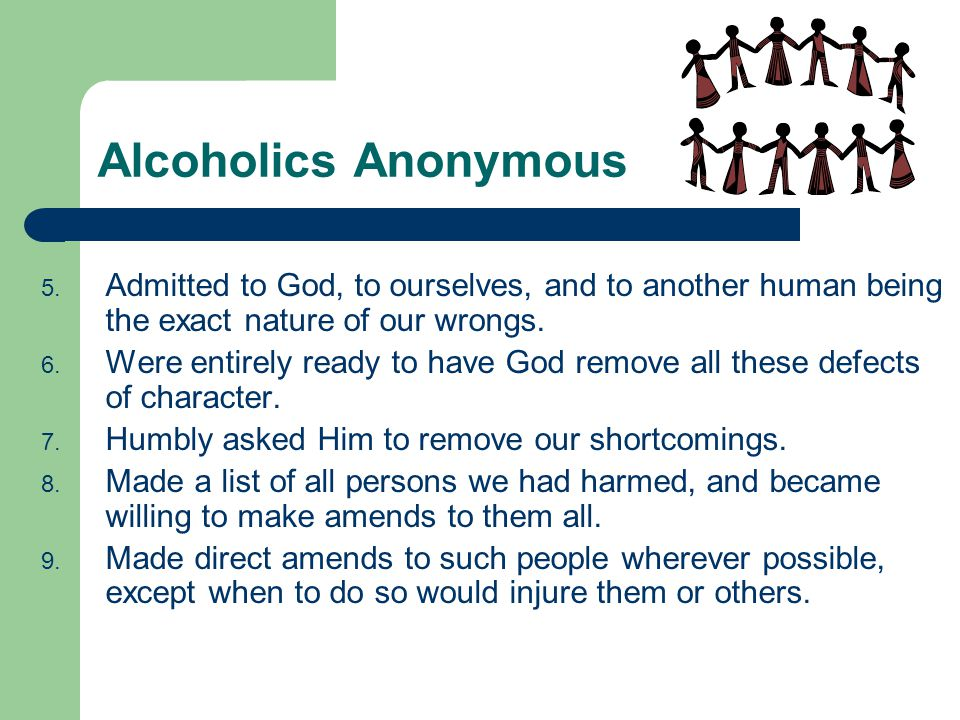 Alcoholics Anonymous Admitted to God, to ourselves, and to another human being the exact nature of our wrongs.