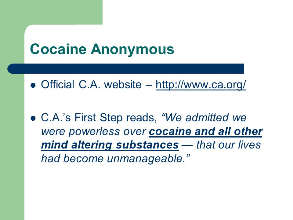 Cocaine Anonymous Official C.A. website – http://www.ca.org/