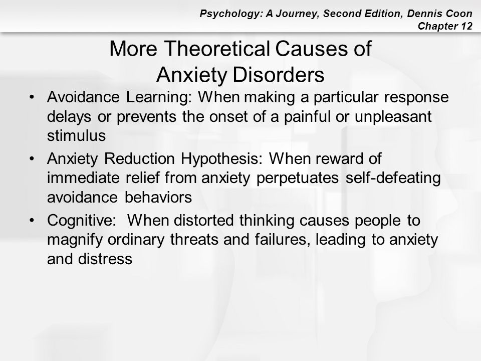 More Theoretical Causes of Anxiety Disorders