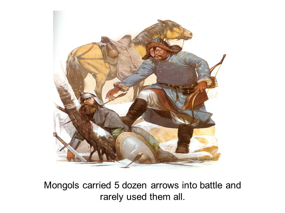 Mongols carried 5 dozen arrows into battle and rarely used them all.