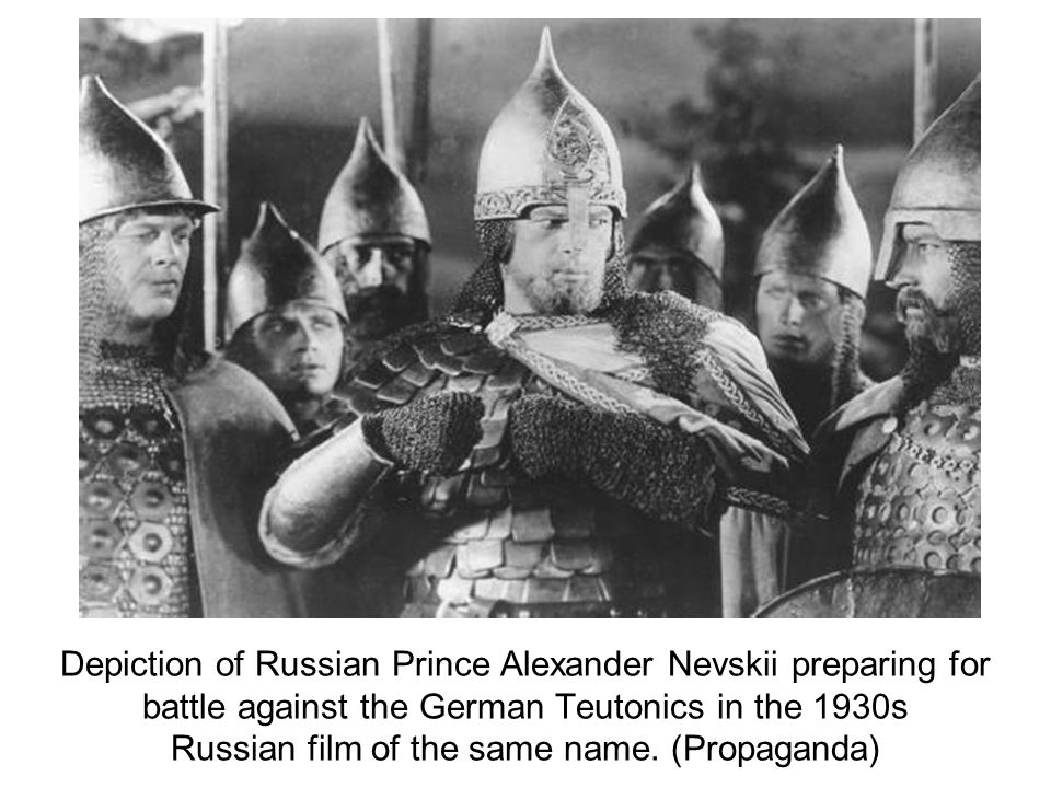 Depiction of Russian Prince Alexander Nevskii preparing for battle against the German Teutonics in the 1930s Russian film of the same name.