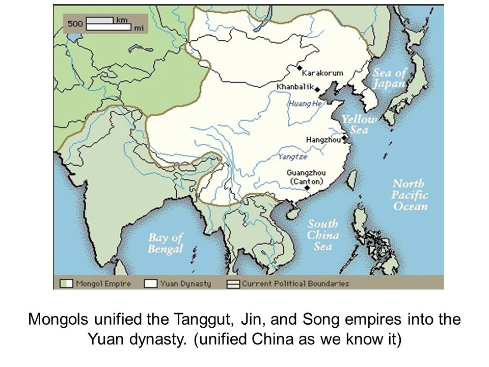 Mongols unified the Tanggut, Jin, and Song empires into the Yuan dynasty.