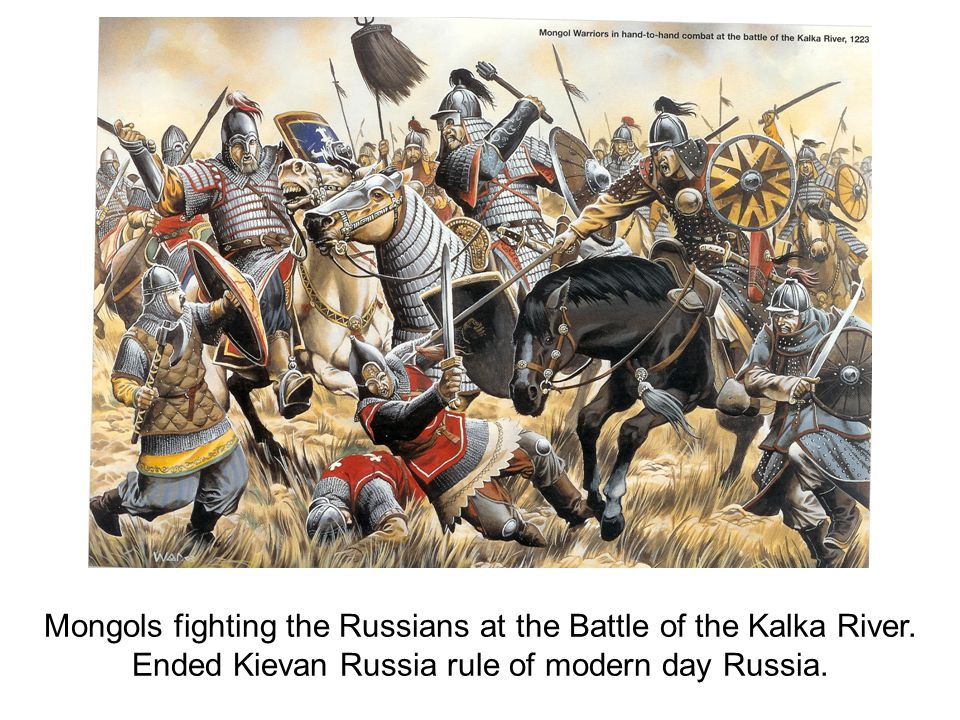 Mongols fighting the Russians at the Battle of the Kalka River