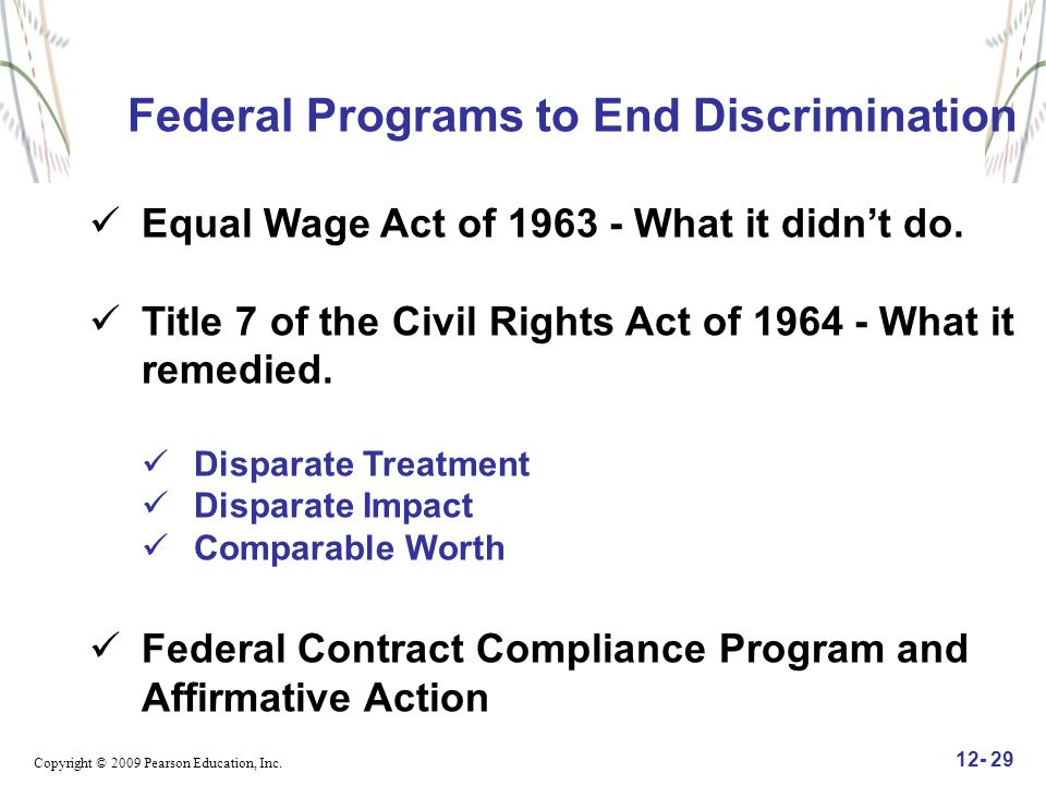 Federal Programs to End Discrimination